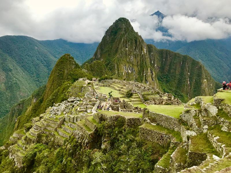 View from the top of Machu Picchu, Cuzco, Peru royalty free stock photography