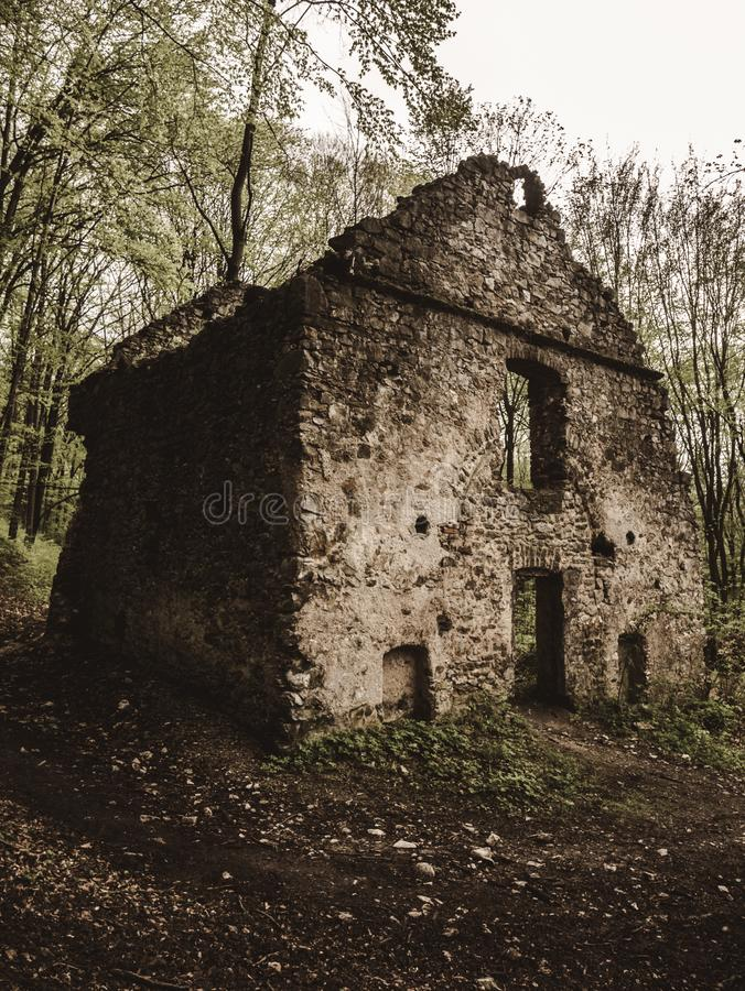 Ruins of an old residential building royalty free stock photo