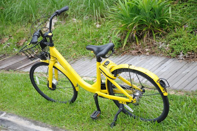A bicycle from a bicycle sharing company illegally parked. A photo taken on a yellow painted bicycle from a bicycle sharing company illegally parked on a grass royalty free stock photos
