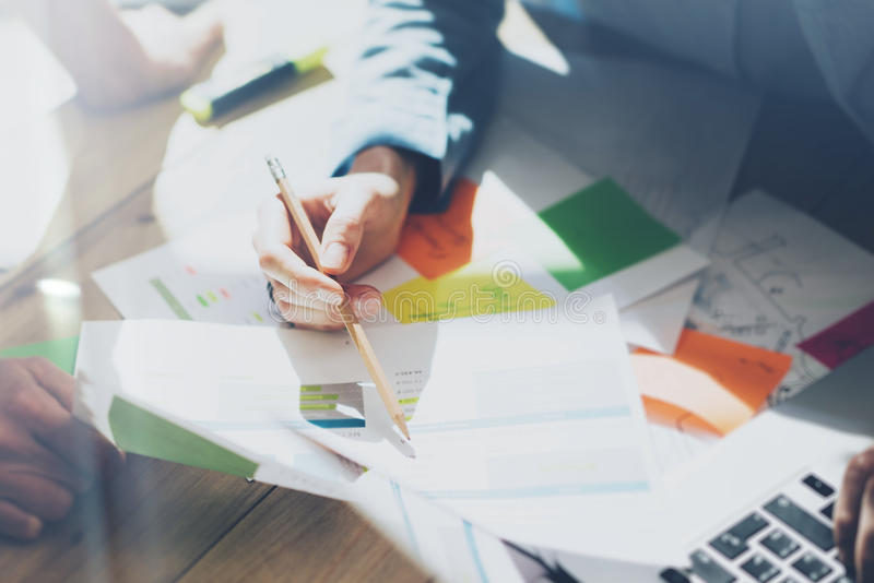 Photo team work process, signs documents table. Account managers crew works with startup project.New idea presentation royalty free stock images