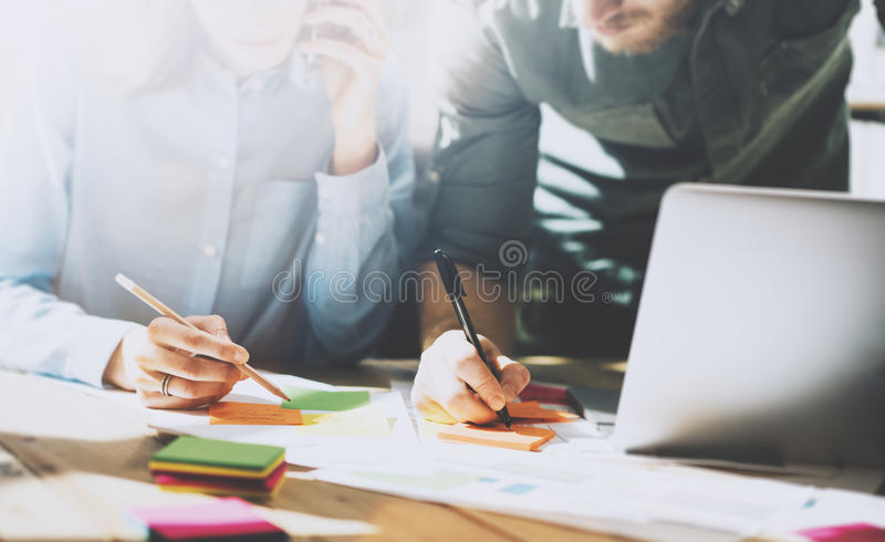 Photo team in work process, signs documents table. Account managers crew works with startup project.New idea royalty free stock image