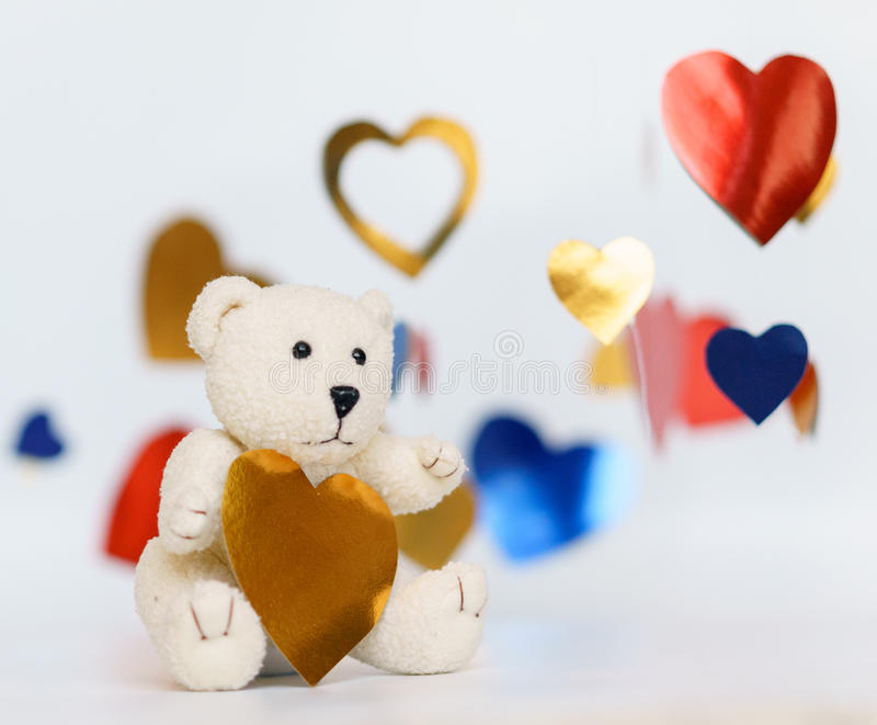 A photo of Teddy bear heart sharp with white background. A photo of Teddy bear heart sharp with white background stock photography