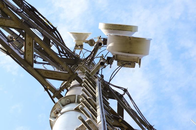 Photo of telecommunication technology with blue sky. For send signal stock image