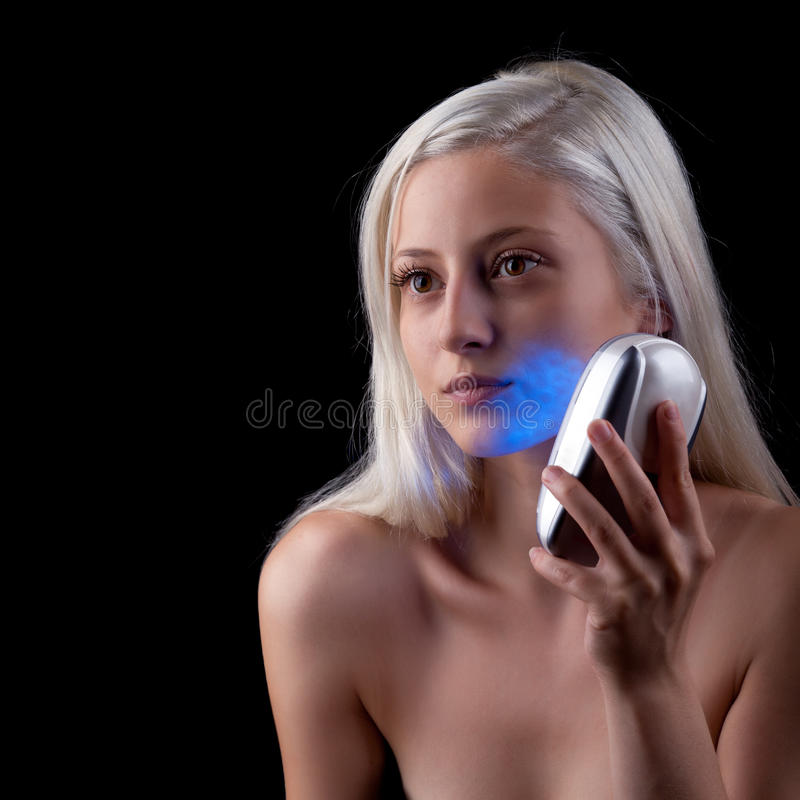 Photo-therapy treatment by blue light royalty free stock images
