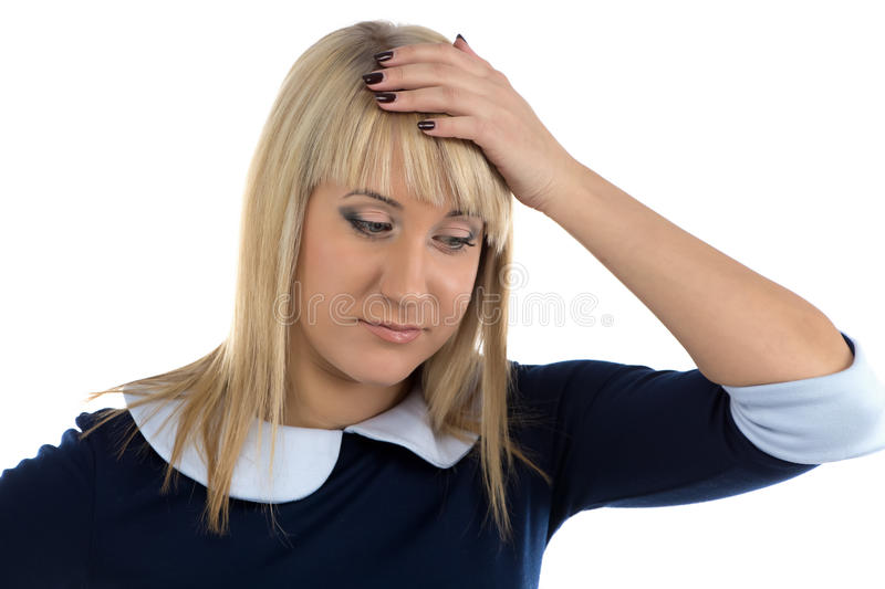 Photo of thinking business woman with hand on head royalty free stock photos