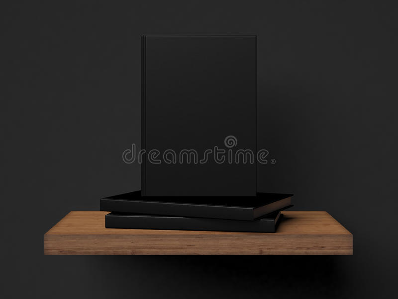 Photo of three black books on the wooden shelf. 3d render royalty free illustration