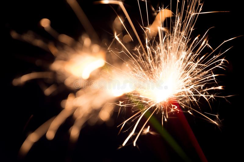 Sparklers of joy stock images