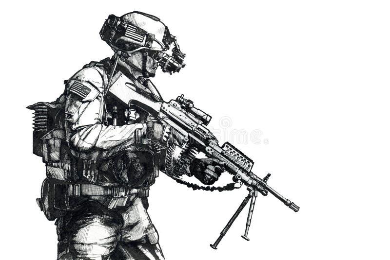 Photo tirée par la main de garde forestière d'armée illustration libre de droits