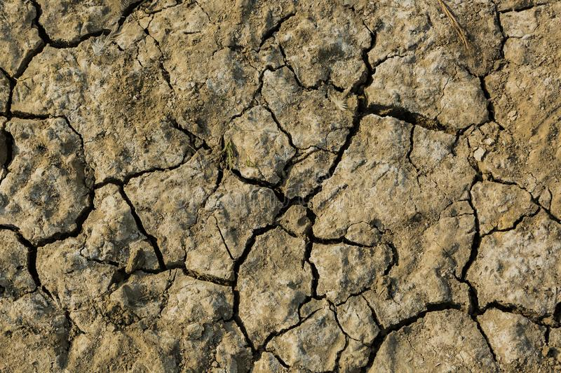 Dry land. Photo took to the ground in a dry terrain. The land is cracked due the lack of water royalty free stock photography