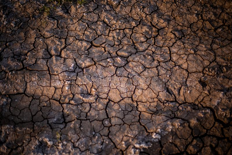 Photo took to the ground in a dry terrain. The land is cracked due the lack of water royalty free stock image