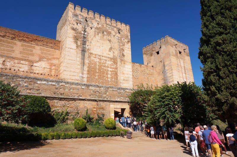 Alcazaba Fortress Line at the Alhambra in Granada Spain stock photos