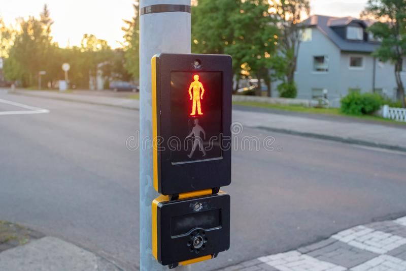 Photo of traffic light with red pedestrian stock photo