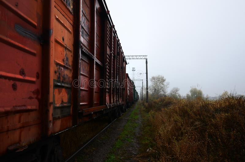 Photo of the train on rainy cloudy weather with shallow depth of fiel. D royalty free stock photography