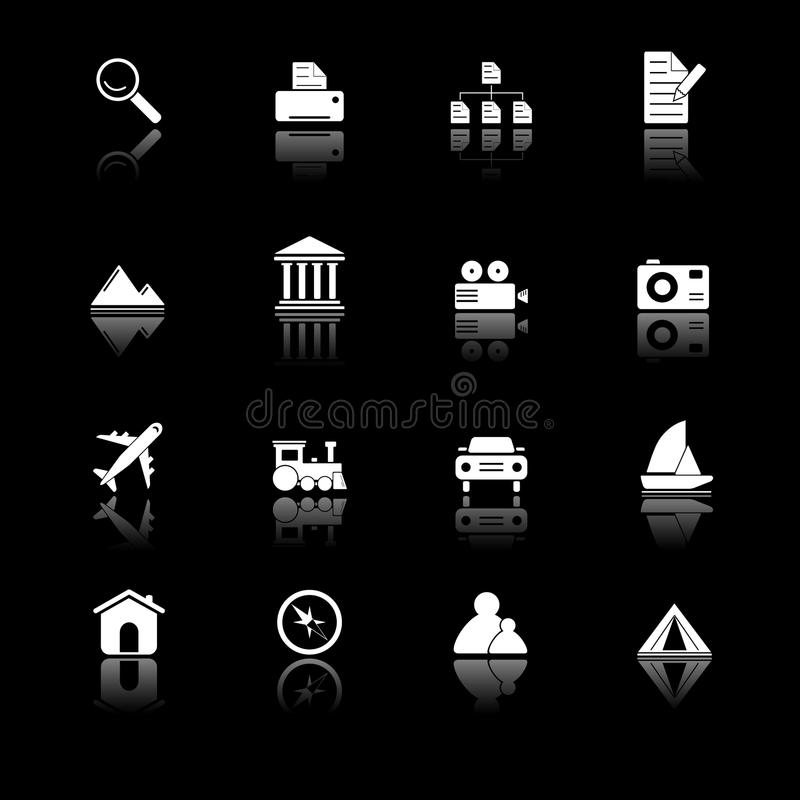 Photo and travel icons - black series, stock illustration