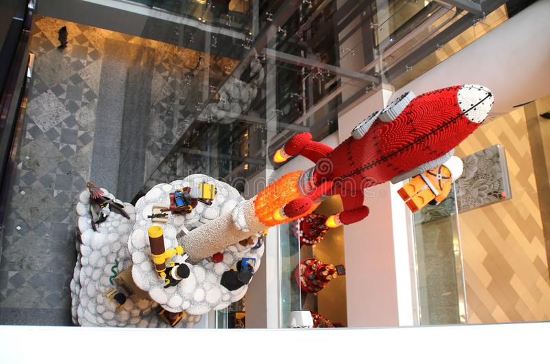 Rocket from the designer LEGO in the children`s super market `Children`s World.`. Photo of the Travel to Moscow series. September 9, 2017 royalty free stock photography
