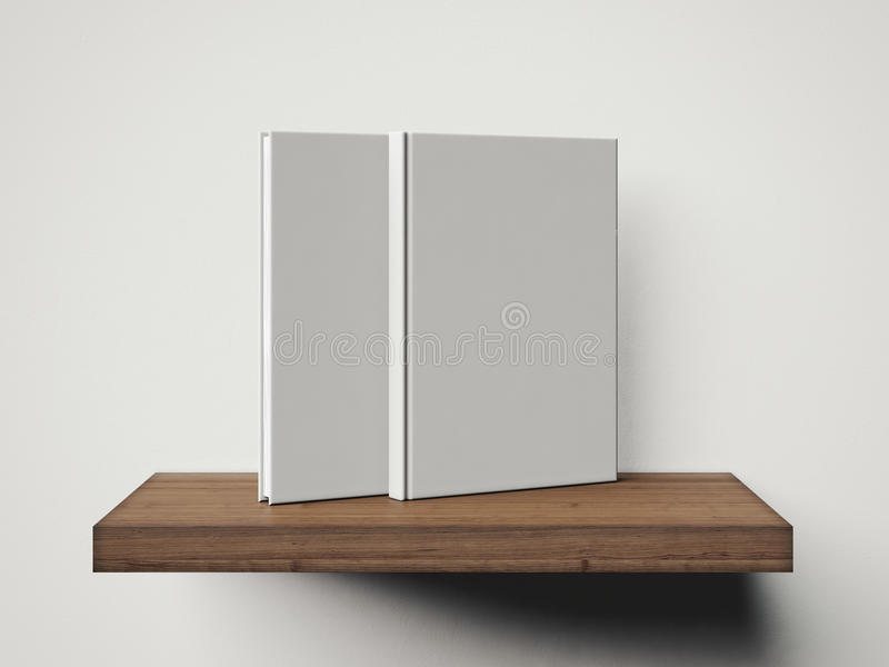 Photo of two blank white books on the shelf. 3d render royalty free illustration
