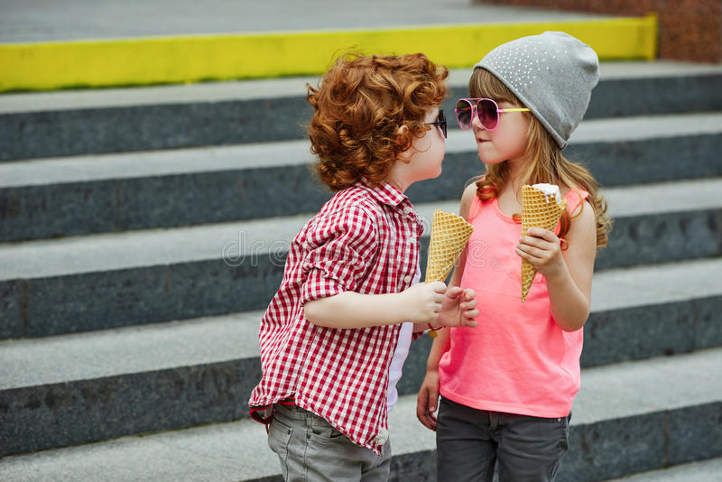 Photo of two cute hipsters stock images