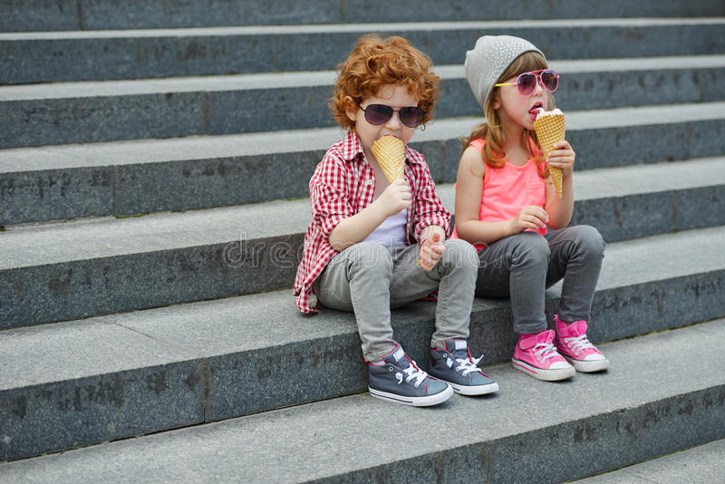 Photo of two cute hipsters stock photography