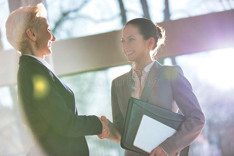 Female business colleagues shaking hands at office. Photo of two Female business colleagues shaking hands at office royalty free stock image