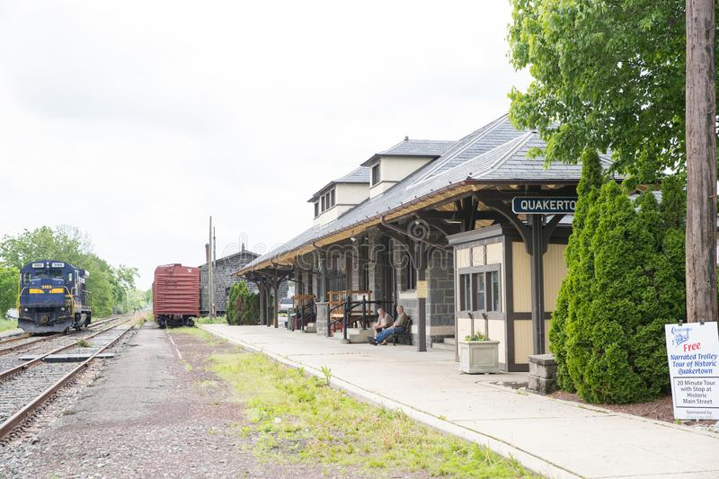 A photo of a typical small town main street in the United States of America. Quakertown, Pennsylvania - May 19, 2018: A photo of a typical small town main stock photography