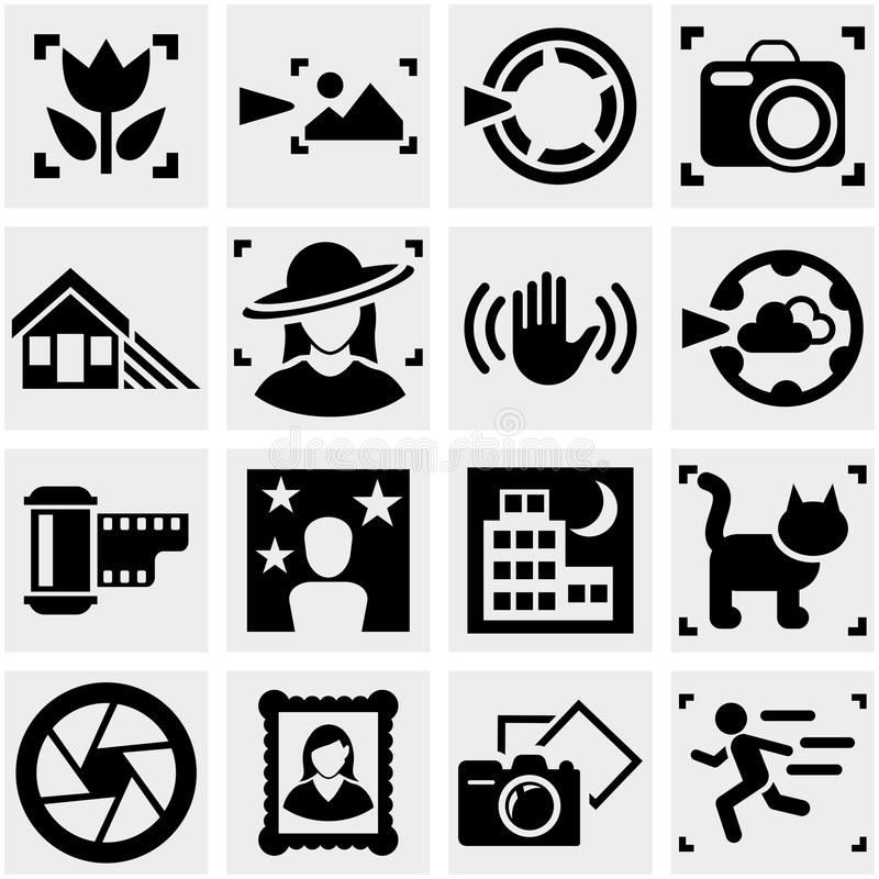 Download Photo Vector Icons Set On Gray. Royalty Free Stock Image - Image: 33973156