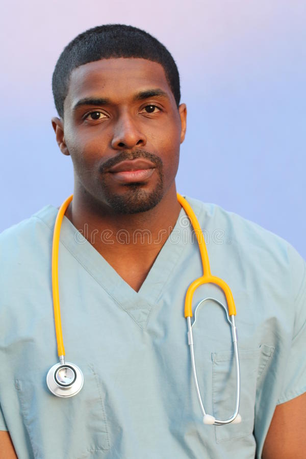 Photo of a very attractive African American male nurse royalty free stock image
