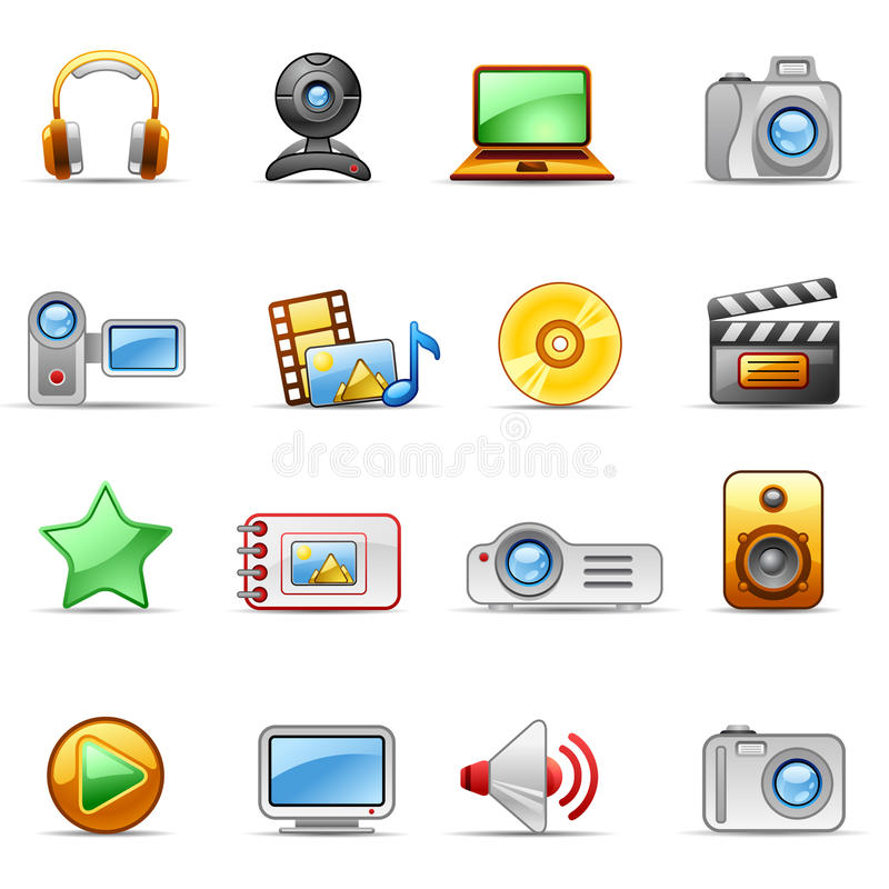 Photo and Video. Set of icons on a theme Photo and Video stock illustration