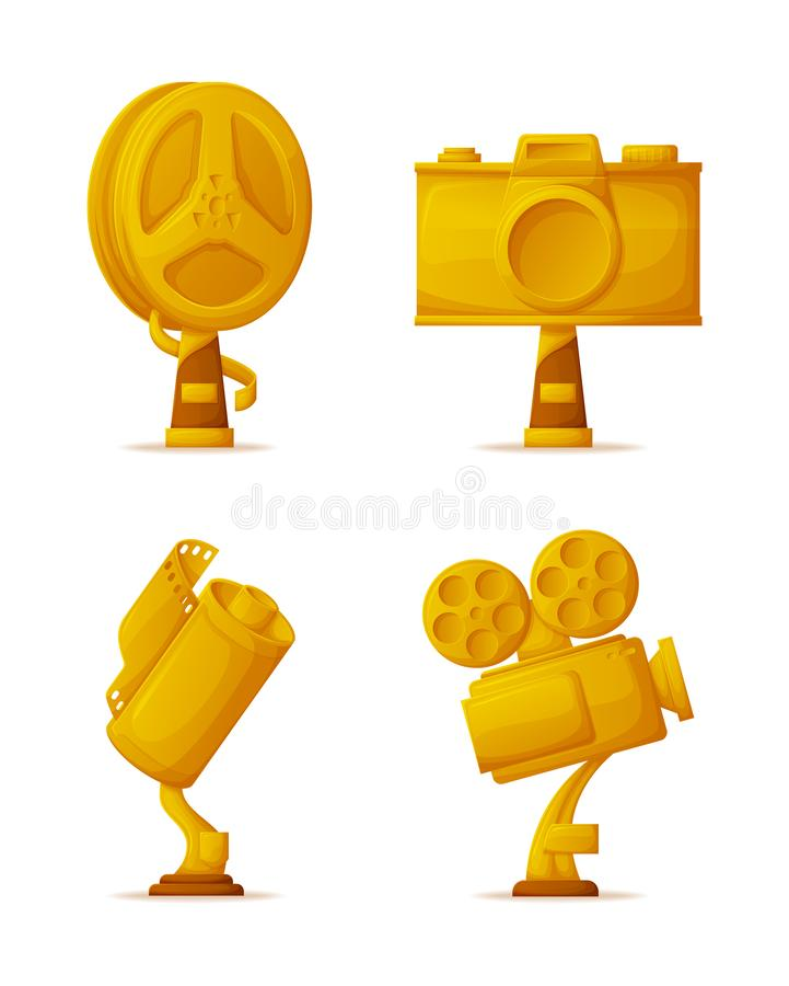 Photo and Video Camera Shape Gold Awards or Prizes. Gold awards or prizes, photo and video camera shape vector. Film reel, photography and movie awards or vector illustration