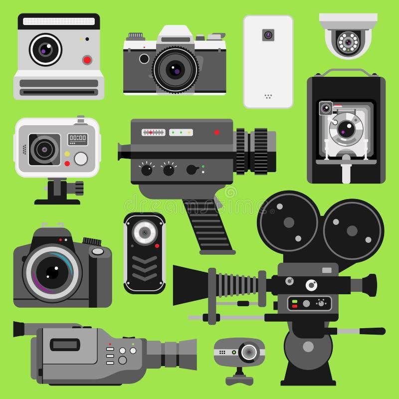 Photo video camera tools optic lenses set. Different types photo-objective retro video-equipment, professional movie. Film making technic. Digital vintage royalty free illustration