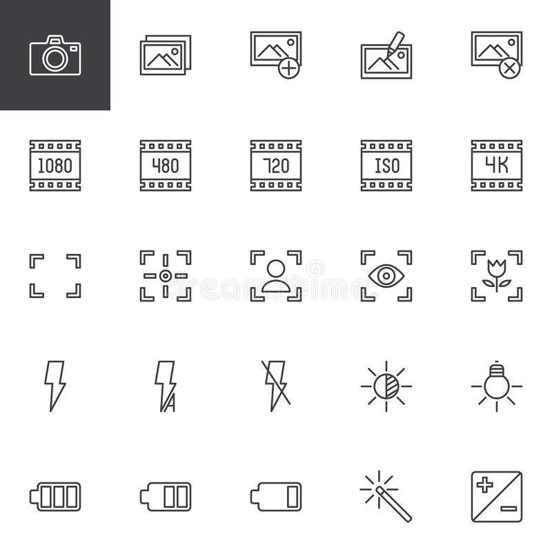 Photo and video functions outline icons set. Linear style symbols collection line signs pack. vector graphics. Set includes icons as Photo camera Image gallery royalty free illustration