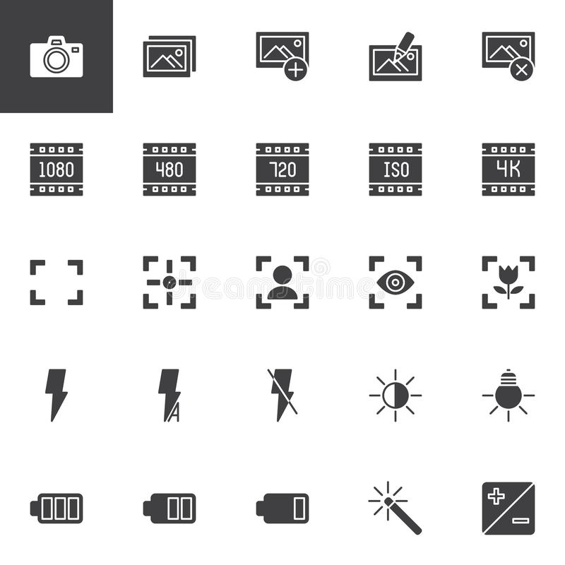 Photo and video functions vector icons set. Modern solid symbol collection, filled style pictogram pack. Signs, logo illustration. Set includes icons as Photo vector illustration