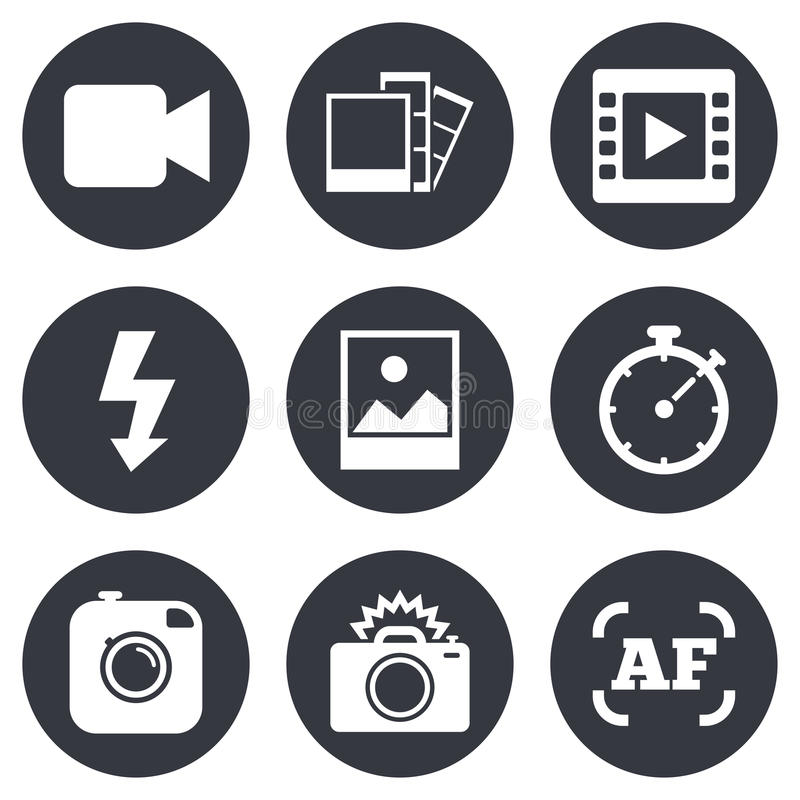 Photo, video icons. Camera, photos and frame vector illustration