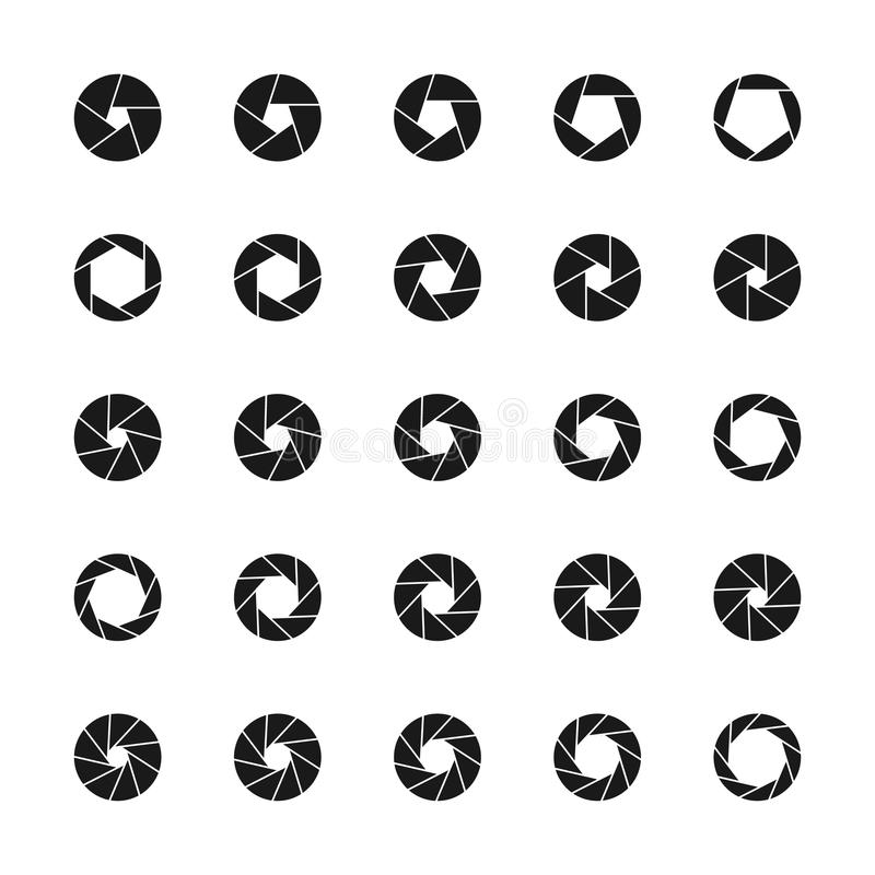 Photo and video related set of shutter symbols. Set of camera lens aperture icons with different position of a diaphragm petals. Photo and video related set of royalty free illustration