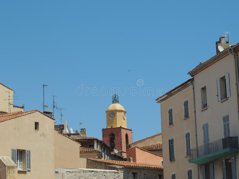 View to roof of the Church of Our Lady of the Assumption in Saint-Tropez stock photography
