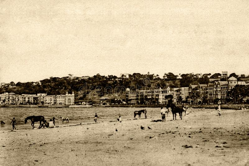 Photo Vintage de Chaupatio Sea Fase Bombay maintenant Mumbai Maharashtra photo stock