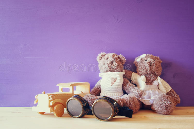Download Photo Of Vintage Toy Car And Couple Of Cute Teddy Bears Stock Photo - Image: 83700076