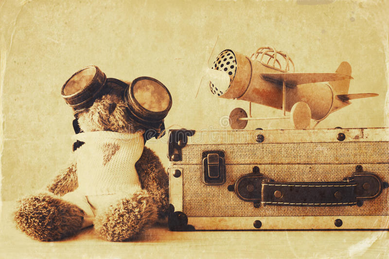 Download Photo Of Vintage Toy Plane And Cute Teddy Bear Stock Photo - Image: 83702830