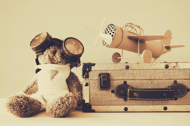 Download Photo Of Vintage Toy Plane And Cute Teddy Bear Stock Photo - Image: 83702801