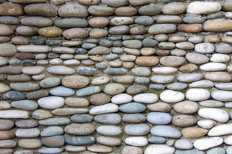 Photo of the wall exactly paved with stones. Summer stock photography