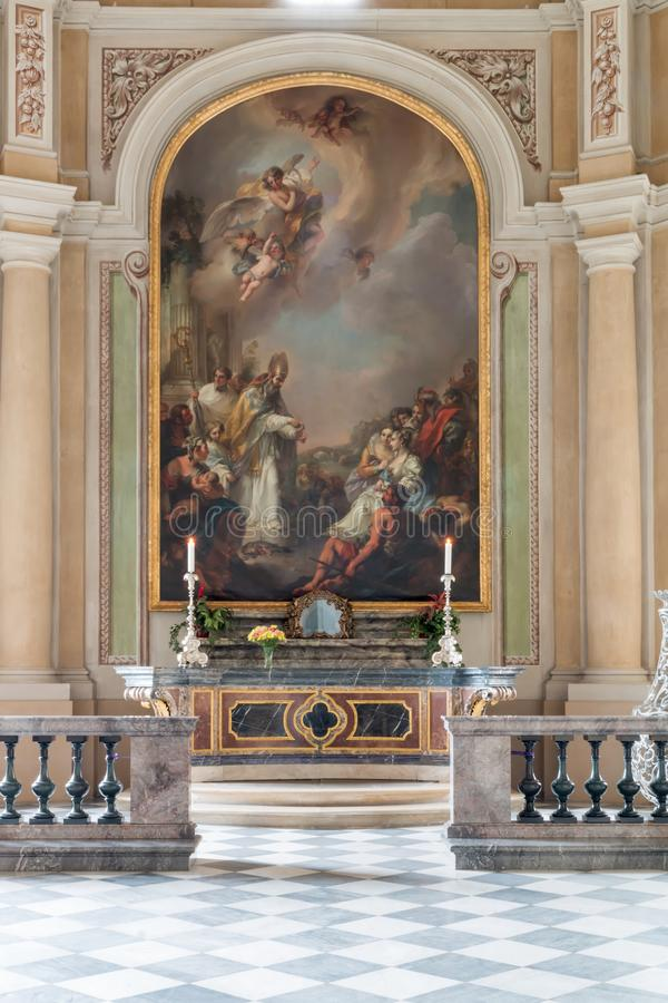 A painting in a church in Dresden in Germany. This photo from a wall painting is make in in a church in Dresden in Germany stock images