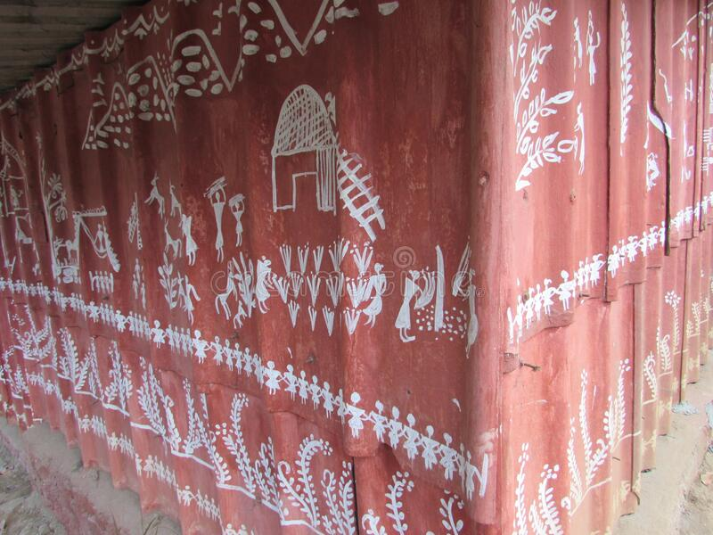 Photo of Warali painting a style of Tribal art. Warli painting is a style of tribal art mostly created by the tribal people from the North Sahyadri Range in royalty free stock image