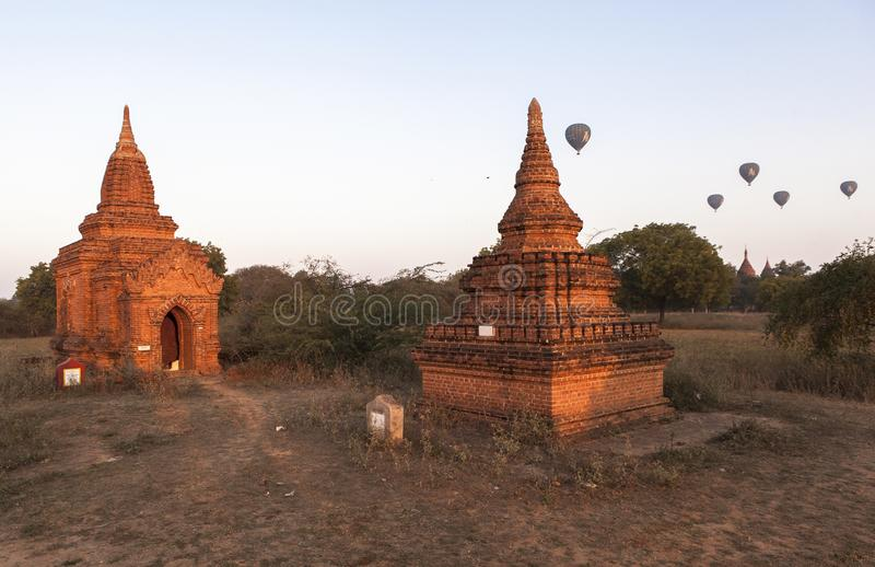 Balloons over Bagan at sunrise royalty free stock photography