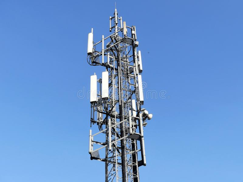 Mobile phone mast by M25 Motorway, Chorleywood royalty free stock photography