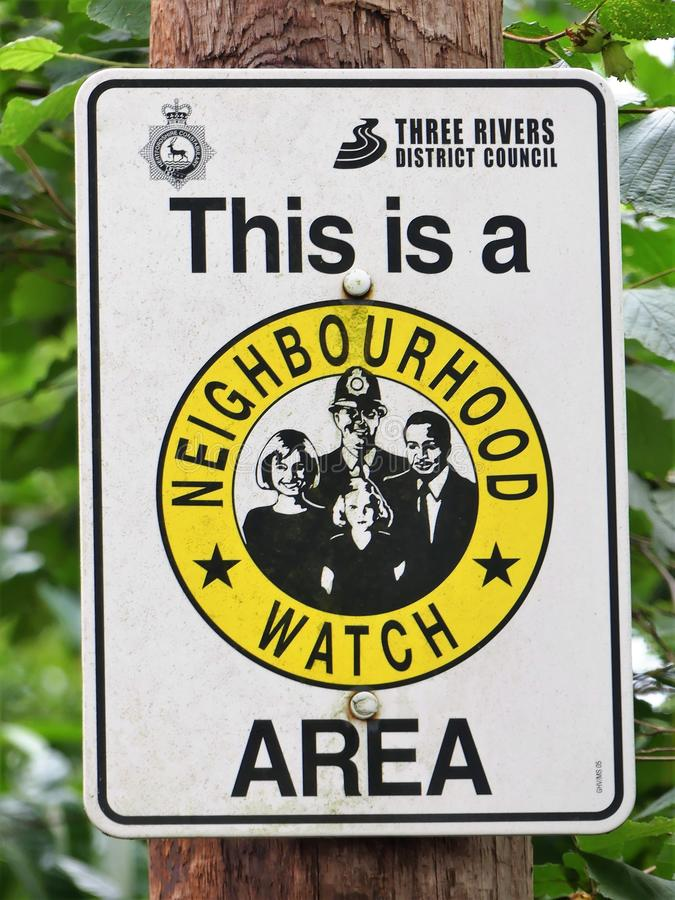 This is a Neighbourhood Watch Area sign royalty free stock image