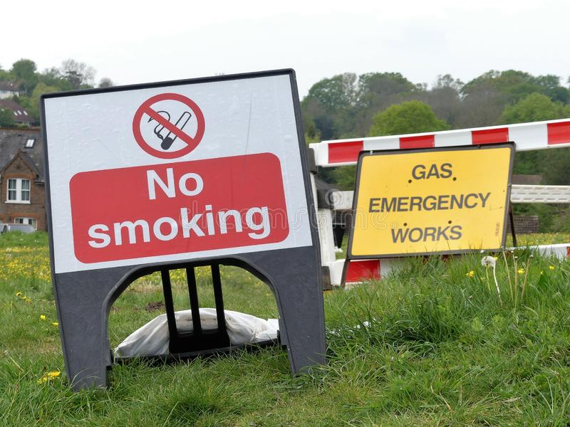 No smoking and gas emergency works signs. This photo was taken in Chorleywood, Hertfordshire, England, UK stock photos