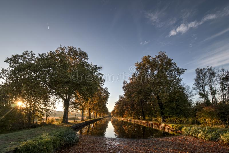 Sunrise on the French East waterway stock images