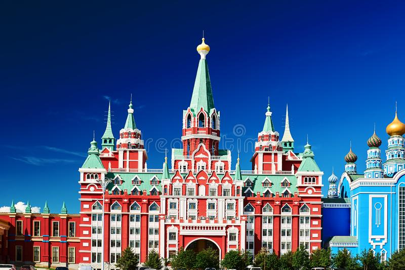 The Gothic architecture in NZH Manzhouli in Inner Mongolia, China. The photo was taken in Matryoshka doll square of NZH Manzhouli in Inner Mongolia, China stock photo