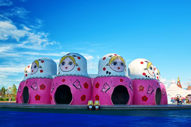 The lovely matryoshka dolls in the NZH Manzhouli city,China. The photo was taken in Matryoshka doll square of NZH Manzhouli in Inner Mongolia, China stock photos