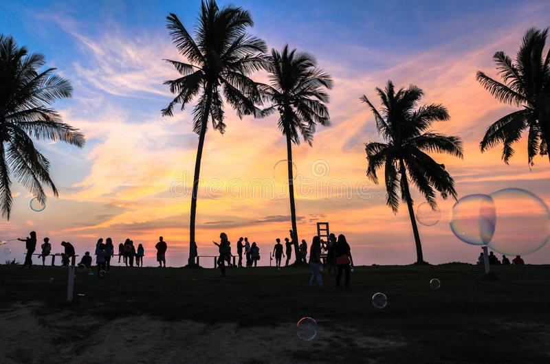 Amazing sunset in Coco Cabana Beach in Miri, Sarawak. This photo was taken in Miri, Sarawak, Malaysia. Coco Cabana is a modern seaside area where there famous stock photography