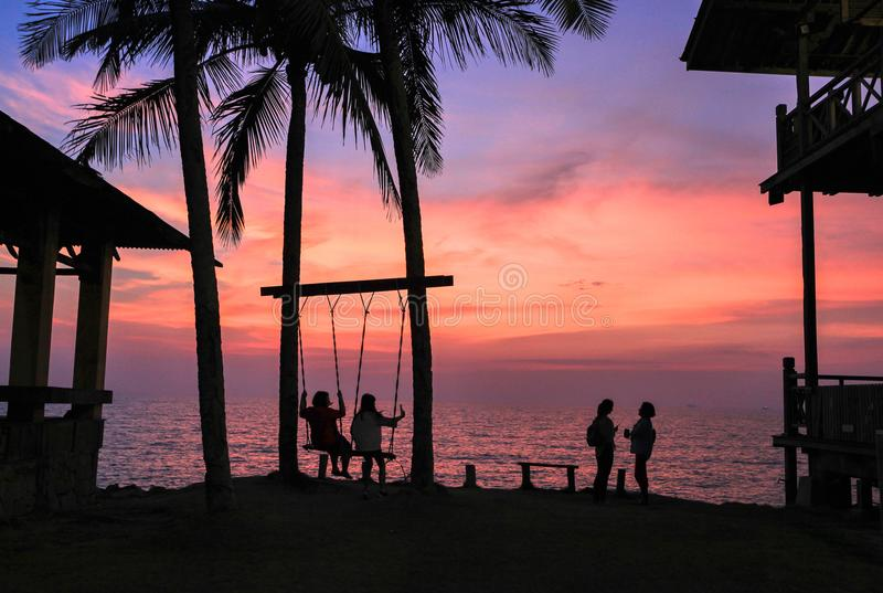 Amazing sunset in Coco Cabana Beach in Miri, Sarawak. This photo was taken in Miri, Sarawak, Malaysia. Coco Cabana is a modern seaside area where there famous stock images
